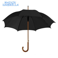 Advertising Product Cheap Promotional Logo Classical Midsize Regular Wooden Straight Umbrella Wood Handle for Gentleman