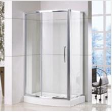 Cabina de ducha frontal con arco y panel lateral