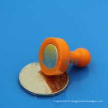 NdFeB coloré en plastique, bouton-poussoir personnalisé, aimant en métal