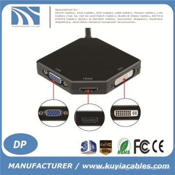 2016 Mini Display Mini Puerto Thunderbolt DP a DVI VGA HDMI 3in1 adaptador de cable para MacBook