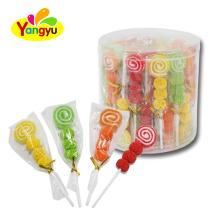Halal Jelly Pop Sweet Sugar Coated Screw Soft Lollipop
