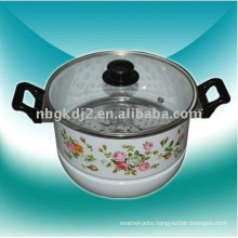 enamel steamer pot with glass lid