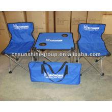 Conjunto de mesa e cadeira portátil crianças, acampamento de moda