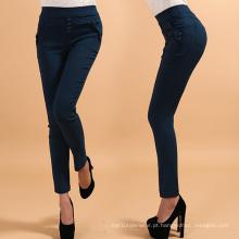Senhora elegante botões calças