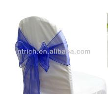 vogue azul, de lujo cristal organza silla marco lazo detrás, corbata de lazo, nudo, cubierta wedding de la silla y mantel