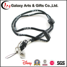 China Wholesale Black Round Polyester Jacquard Woven Cord Lanyard Rope