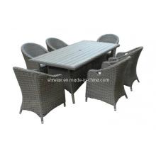 Jardim do Rattan, cadeira mesa conjunto mobília ao ar livre de vime