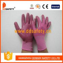 Розовый розовый нейлона с Нитрила перчатки Dnn345