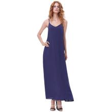 Kate Kasin Sexy Womens Summer Casual suelta correas espaguetis V-Cuello Maxi vestido de la Marina KK000700-4