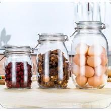 Hot Selling 250ml 500ml 1000ml 1500ml Airtight Sealable Moisture-Proof Glass Flip Top Round Shape Jars with Flip Lids, Glassware Jars, Glass Ss Clip Jars