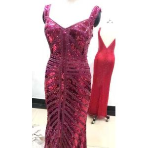 2019 Lady Machine Beaded Sequin Gown Evening Dress