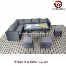 Outdoor Rattan Tisch Sofa in schwarz (1304)