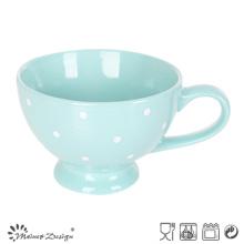 Tasse de soupe de 11oz Glaze couleur unie à pois