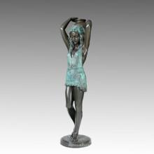 Escultura de bronce grande de la muchacha de la estatua y de la tetera, Milo Tpls-004