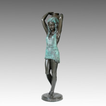 Grand Statue Girl & Kettle Bronze Sculpture, Milo Tpls-004