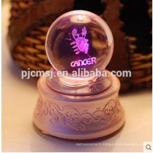 Boîte à musique de boule de cristal avec le logo gravé par laser 3D pour le cadeau de souvenirs