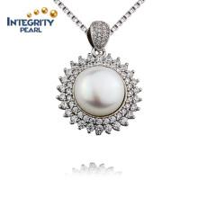 Schöner Entwurf Süßwasserperlen-Anhänger 10mm AAA kultivierter Perlen-Anhänger