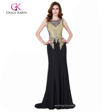 Grace Karin Women's Golden Appliques Embellished Formal Long Mermaid Black Evening Prom Dresses GK000112-1