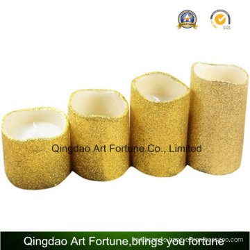 Flameless LED Candle -Golden Glitter Wavy with Timer for Decoration