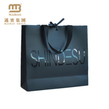 Heavy Duty Luxury Custom Retail Packaging Matte Laminated Black Paper Shopping Bags With Logo