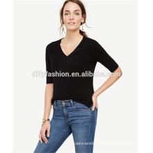 camisola feminina camisola de manga curta v-pescoço de senhoras