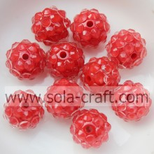 10*12MM Clear Red Resin Crystal Rhinestone Ball Beads Wholesale In Fashion