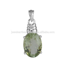 Natural Green Amethyst Gemstone 925 Sterling Silver Pendant