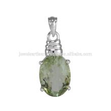 Натуральный Зеленый Аметист Драгоценный Камень 925 Серебряный Кулон