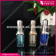 Bouteille de beauté en acrylique et plastique carré 8ml Soin des ongles avec brosse vide bouteille d'huile à ongles