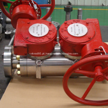 Válvula de esfera DBB montada em munhão