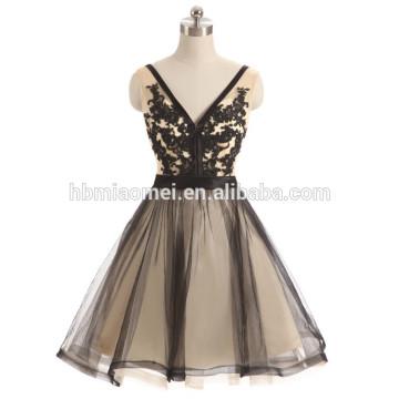 Schwarze Farbe tiefes V-Ausschnitt backless große Größe Frauen Kleid Abendkleid 2017