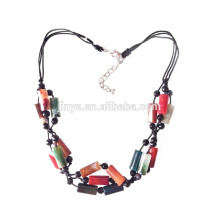 handmade Vintage multi color nature onyx agate stone necklace
