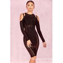 Long Sleeve Dress Black Lace Bandage Dress