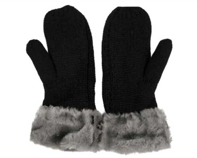Thickening Acryic Knitting Gloves Black
