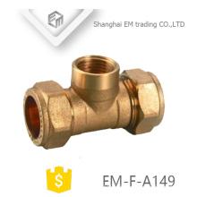 EM-F-A149 Latão rosca macho Tee compressão pex pipe fitting