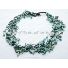 8Wire Knotted Turquoise Chip Necklace