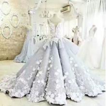 Elegante A-Line Cuello Corto Espaguetis palabra de longitud de encaje vestido de novia WD807