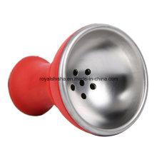 Nouveau bol de shisha de tête en aluminium de narguilé de silicone de conception
