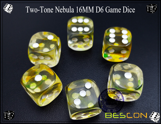 Two-Tone Nebula 16MM D6 Game Dice-1