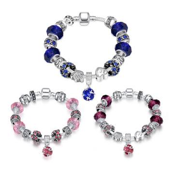 925 серебряных европейских шариков шармов Мода Браслет для женщин