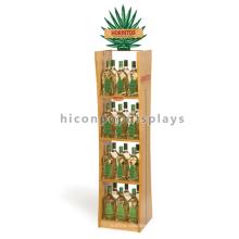 Estantería de madera de haya Panel de acrílico de visualización de bebidas Stand de pie Monster Energy Drink Display Stand