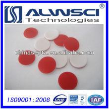 Septa de silicone de vermelho PTFE branco de 11 mm para análise de frasco de crimpagem de 2 ml