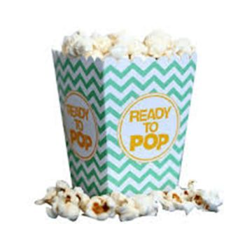Movie Party Popcorn Boxes Striped White and Red