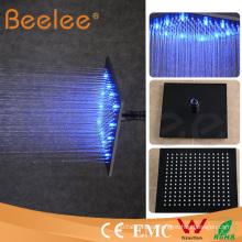 Cabezal de ducha autoamplificado LED de 12 pulgadas, cabezal de ducha superior mate, negro, lluvia, cuadrado
