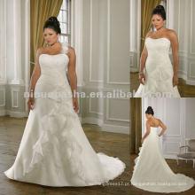 NY-2420 Organza com vestido bordado de casamento de renda
