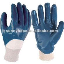 Glatte Oberfläche blau Nitril beschichtet mit Strick Handgelenk Handschuhe