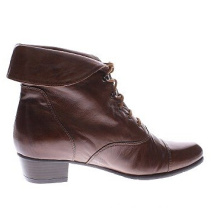 Red Leather Foldover Collar Wedge Booties for Women