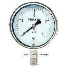 Manómetro de presión de acero inoxidable-Manómetro de presión de diafragma Manómetro de presión lleno de glicerina