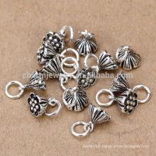 sef102 jewelry findings, vintage 925 sterling sliver lotus flower diy wholesale jewellery mix lots charms accessories