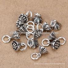 Sef102 заключения ювелирных изделий, vintage стерлингового серебра 925 lotus flower diy оптовая продажа jewellery смешивает серии шармы вспомогательное оборудование
